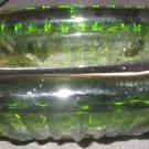 VINTAGE LARGE AND HEAVY GREEN RIBBED GLASS ASHTRAY CIGARETTE CIGAR PIPE