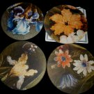 GORGEOUS HANDPLAINTER ORIGINALS BY COASTERSTONE FLOWER COASTERS SET OF 4 NMB