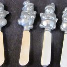 CHARMING CHRISTMAS DECOR LENOX PEWTER STEEL SPREADERS CHEESE KNIFES SET OF 4