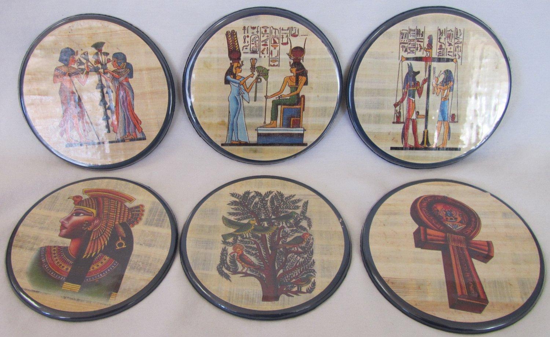 EGYPTIAN THEME COASTERS SET OF 6 CARDBOARD ENCASED IN PLASTIC FELT LINED