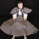 UNIQUE VINTAGE GLAZED PORCELAIN VELMA DOLL BY V. DOWWLING ORIGINAL CHECKERED