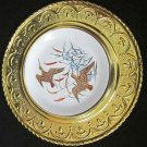 VINTAGE ALFRED MEAKIN PORCELAIN PLATE ENCASED IN HANDHAMMERED  FRAME WALL PLAQUE