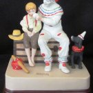 NORMAN ROCKWELL FIGURINE MUSIC BOX 'THE RUNAWAY' CLOWN & A BOY