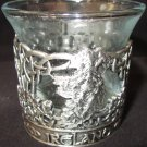 PEWTER INTRICATE DESIGN IRELAND GLASS VOTIVE CANDLE HOLDER