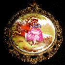 ANTIQUE FRAGONARD PORCELAIN CAMEO BRONZE FRAME MEDAL WALL PLAQUE PENDANT