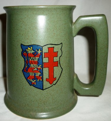 GREEN CERAMIC COAT OF ARMS BEER STEIN TANKARD FREDROBERTS COMPANY MADE IN JAPAN