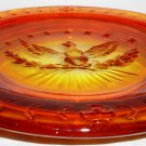VINTAGE LE SMITH AMBERINA RED ORANGE GLASS EAGLE ASHTRAY
