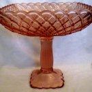 VINTAGE L.E.SMITH TRELLIS PINK GLASS COMPOTE PEDESTAL SQUARE CAKE PLATTER