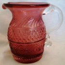VINTAGE PILGRIM CRANBERRY GLASS BENNINGTON PATTERN CREAMER CRUET SMALL PITCHER
