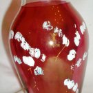 VINTAGE FENTON RUFFLED CLEAR EDGE CRANBERRY GLASS VASE PAINTED FLOWERS