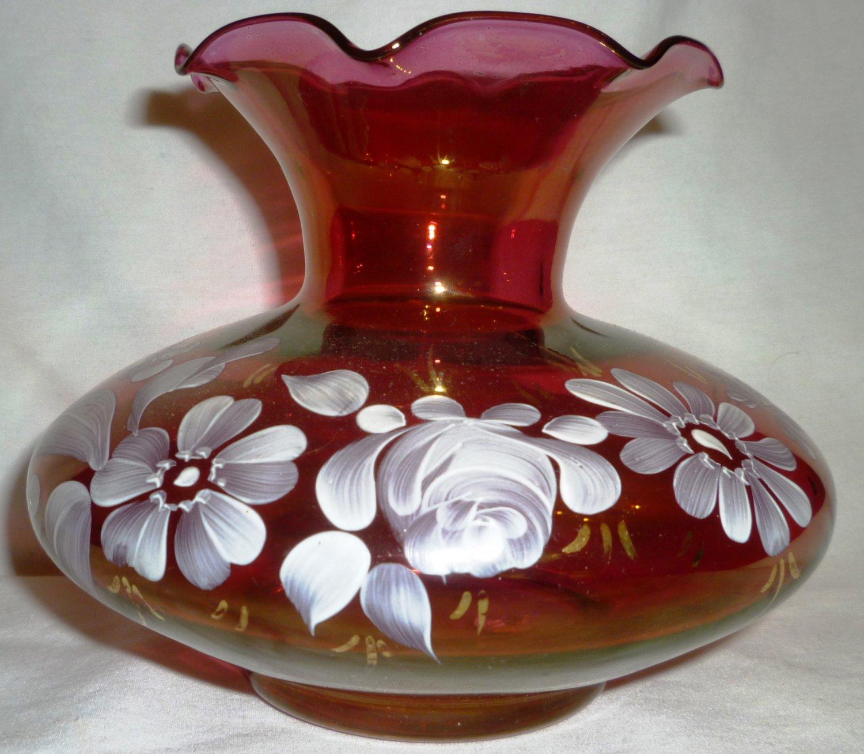 VINTAGE FENTON CRANBERRY GLASS VASE PAINTED FLOWERS ROSES GARDEN FLOWERS RUFFLED