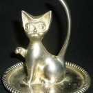 SILVERPLATED CAT IN SAUCER RING JEWELRY VANITY HOLDER