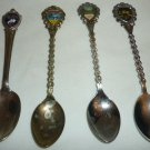COLLECTIBLE SPOONS SET OF 4 MEMORABILIA LAS VEGAS SAN FRANCISCO FLORIDA CANADA