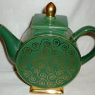 DECORATIVE GREEN W/GOLD DECORATIVE PEDESTAL TEAPOT