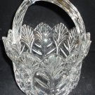 BEAUTIFUL MIKASA CUT PRESSED GLASS BRIDE'S BASKET WITH HANDLE