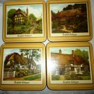 PIMPERNELCORK LINED COASTERS SET OF 4  'ENGLISH COTTAGES' ENGLAND