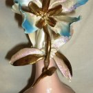 VINTAGE CAPODIMONTE ITALY STILART GLITTER BLUE ORCHID VASE GOLD PINK