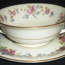VINTAGE JACKSON FEATHERWEIGHT CHINA CONSOMME DOUBLE HANDED CUP & SAUCER FLORAL
