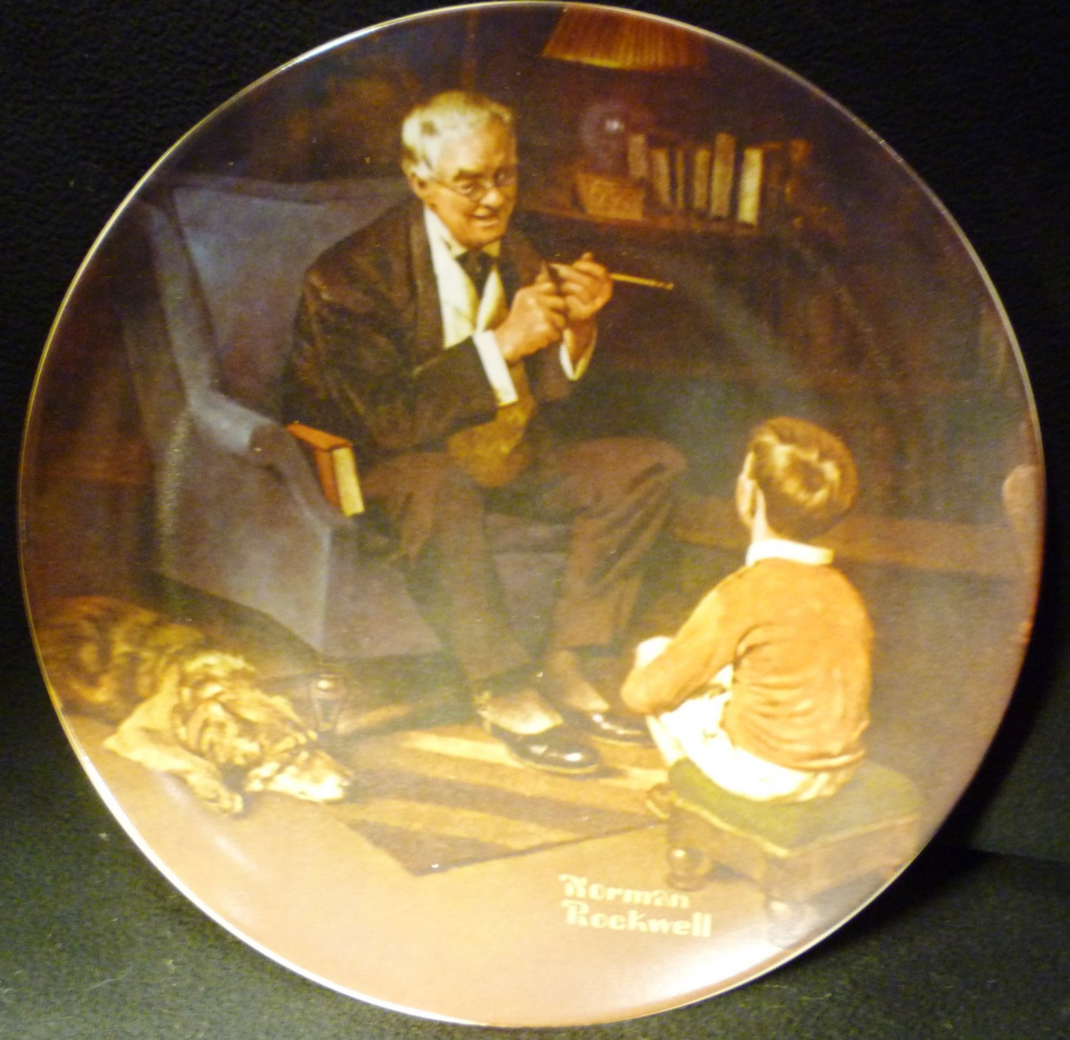 KNOWLES FINE CHINA PLATE 'THE TYCOON' NORMAN ROCKWELL 1982 NMB