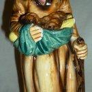 VINTAGE PORCELAIN GLAZED BISQUE FIGURINE WOLD LADY WITH VEGETABLES CORN