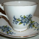 VINTAGE ROYAL ASCOT BONE CHINA ELEGANT TEA/COFFEE CUP SAUCER SPRING BLUE FLOWERS