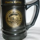 VINTAGE BLACK CERAMIC STEIN OBERLIN COLLEGE 'LEARNING AND LABOR'