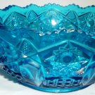 VINTAGE BLUE TURQUOISE GLASS L.E.SMITH NAPPY BOWL QUINTEC BUTTON HERITAGE HANDLE