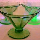 VINTAGE GREEN URANIUM VASILINE FEDERAL GLASS OPTIC PANEL DESERT GLASS SET OF 12