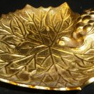 VINTAGE SOLID BRASS HEAVY VINE GRAPE LEAF DISH ASHTRAY