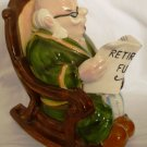 VINTAGE HUMOROUS LEFTON PORCELAIN MAN ROCKING CHAIR COIN BANK RETIREMENT FUND