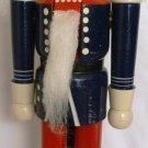 WOODEN NUTCRACKER PRINCE CHRISTMAS HANDPAINTED BLUE UNIFORM TOP HAT