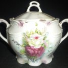 GORGEOUS ANTIQUE PORCELAIN BEADED ROSES PATTERN SIGNED XX LIDDED SUGAR BOWL