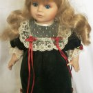 CHARMING PORCELAIN DOLL ALL READY FOR CHRISTMAS CELEBRATION