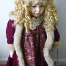 "STUNNING 27"" PORCELAIN DOLL WITH PUPPY COLLECTOR'S CHOICE WOOD BASE STAND"