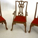 VINTAGE MARX WALNUT PLASTIC DINING CHAIRS SET OF 2 + ARMCHAIR DOLLHOUSE