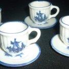 VINTAGE BLUE & WHITE PORCELAIN DELFT MINIATURE TEA SET OF 4  CUP & SAUCER
