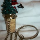 CHARMING CHRISTMAS BOTTLE STOPPER PAINTED CAST IRON SANTA CHRISTMAS TREE
