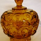 VINTAGE AMBER GLASS L.E.SMITH MOON & STARS PEDESTAL LIDDED COMPOTE CANDY DISH