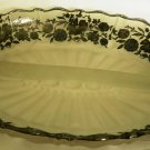 VINTAGE FOSTORIA SILVER POPPIES GLASS CONDIMENT 2 COMPARTMENT DISH PLATTER