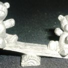 VINTAGE SPOONTIQUES PEWTER MINIATURE DOLLHOUSE FIGURINE BEARS ON A SEE-SAW