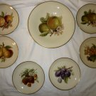 VINTAGE ESCHENBACH BAVARIA GERMANY PORCELAIN DESERT PLATE SET OF 6 + BIG PLATTER