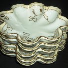 STUNNING ANTIQUE NIPPON JAPAN CHINA GOLD GILDED DAISIES CONVOLUTED DESERT DISH 5