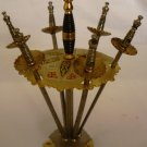 VINTAGE SOLID BRASS CONDIMENT SANDWICH SWORDS PICKS IN A CADDY B