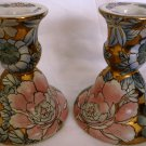 BEAUTIFUL PORCELAIN HANDPAINTED FLORAL CANDLE HOLDERS WBI CHINA DN4 SET OF 2