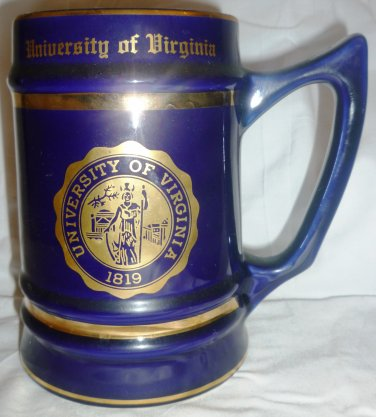 COLLECTIBLE COBALT STEIN MUG UNIVERSITY OF VIRGINIA UVA BY W.C.BUNTING CO.