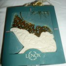 LENOX CHINA CHRISTMAS ORNAMENT PORCELAIN GOLD ENCRUSTED SLEIGH 1995