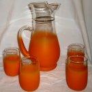 VINTAGE RETRO JUICE SET ORANGE FROSTED GLASS PITCHER & 4 TUMBLERS GLASSES 4 OZ