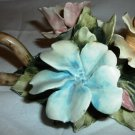 VINTAGE HANDPAINTED CERAMIC FLOWERS CANDLE HOLDER VISCONTI NAPOLEON CAPODIMONTE