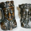 UNIQUE VINTAGE PEWTER BRONZE TOBY HEAD FIGURAL MUGS SET OF 2 KNIGHT & LADY