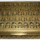 ANTIQUE ORNATED BRASS CIGARETTE CASE HOLDER WOOD LINED